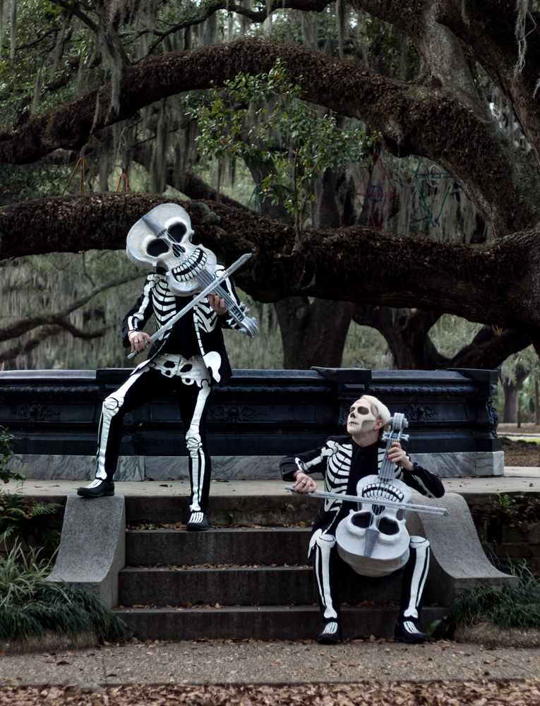 Here's me pretending to play my paper mache violin skull in City Park, New Orleans