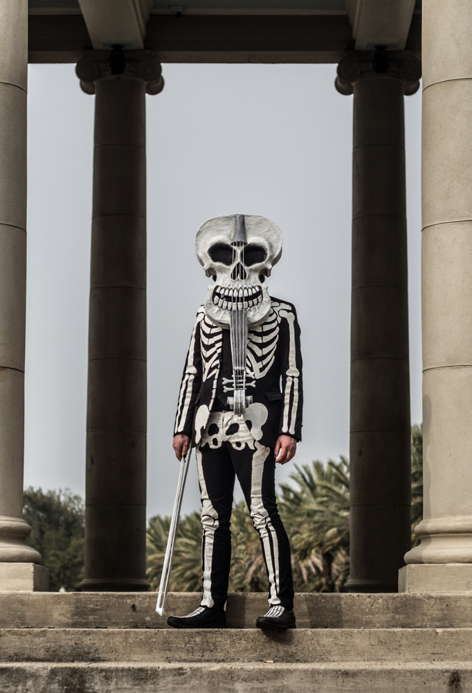 My completed violin skeleton costume in City Park, New Orleans