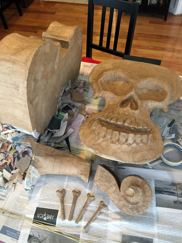 Work in progress pic of my violin skull mask for Mardi Gras 2015