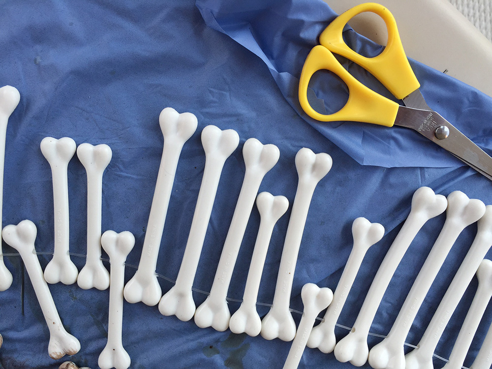 How to make plastic bones look aged and dirty