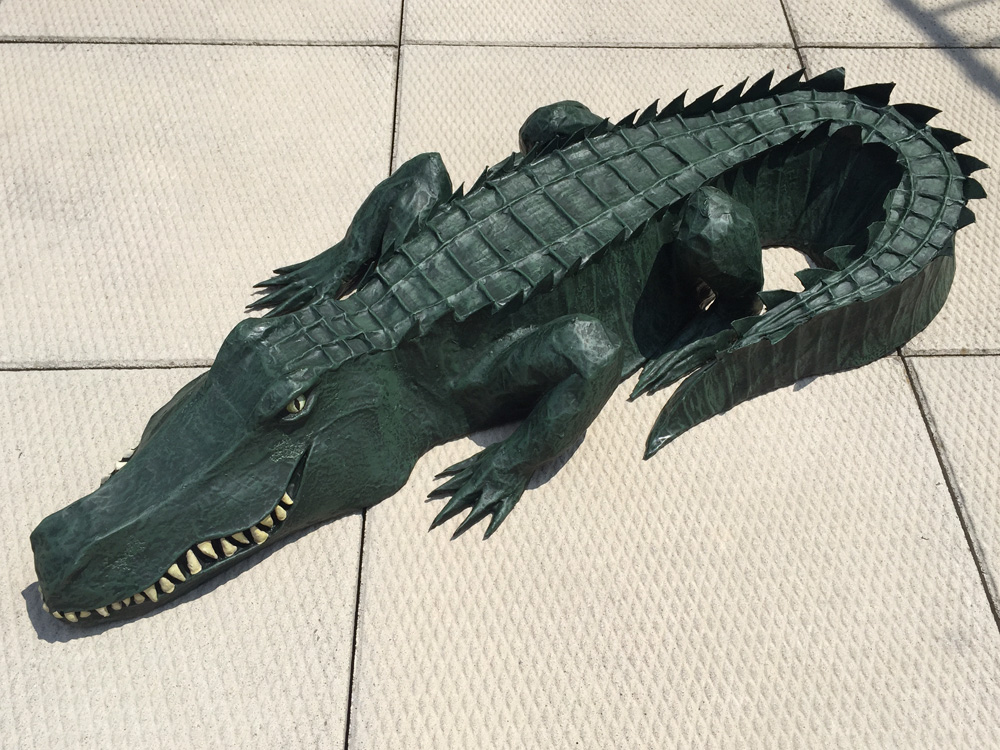 Paper mache alligator painting completed