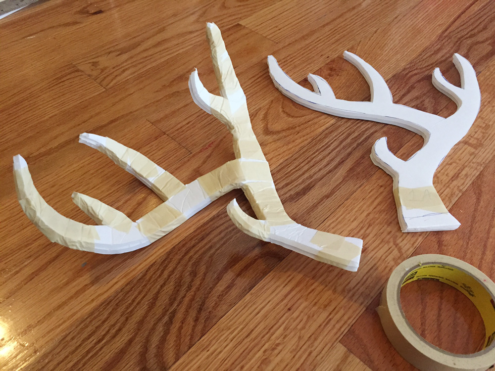 How to make deer antlers -- creating the curves with masking tape