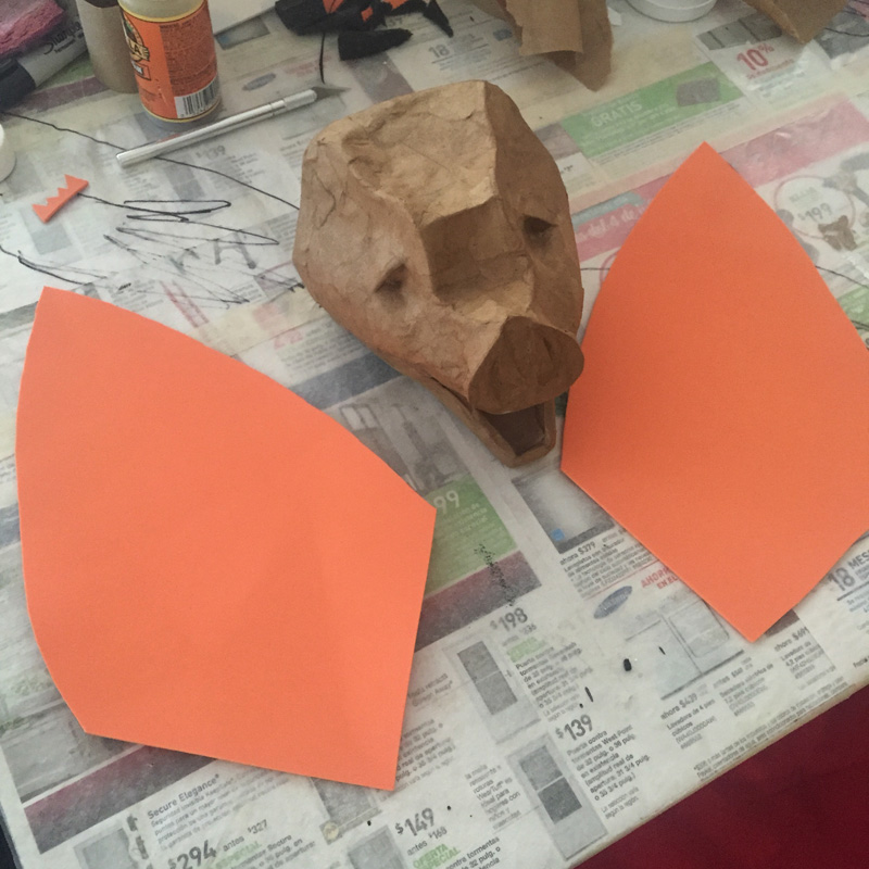 Papier mache bat -- making the ears