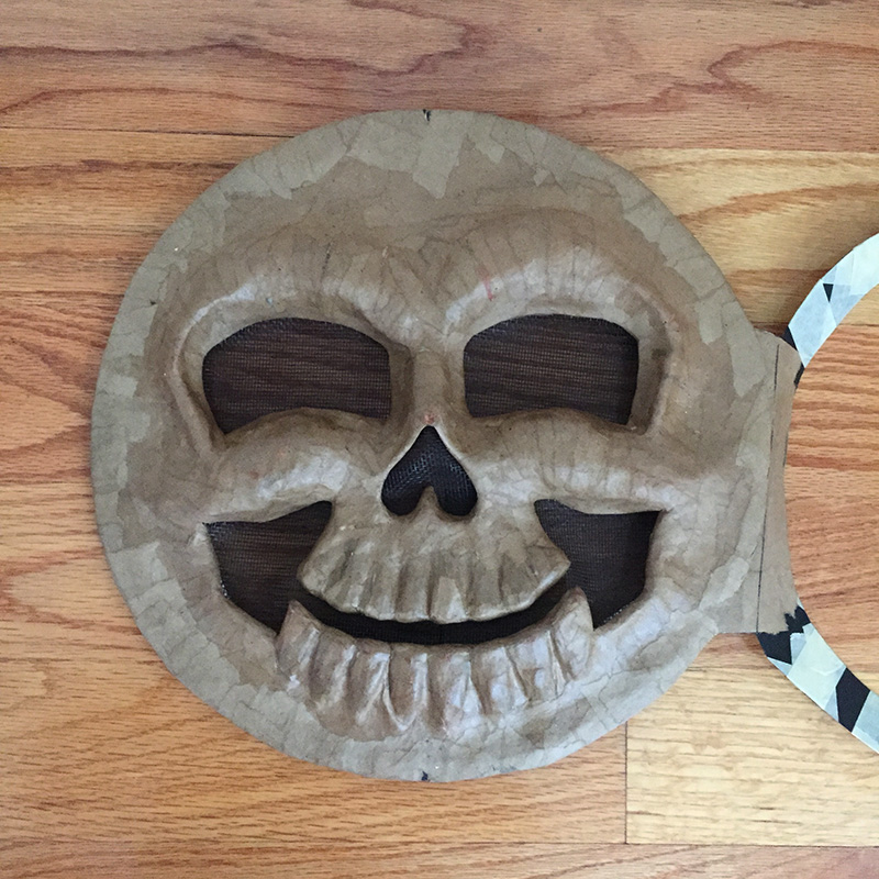 Cuckoo clock skull mask - screen and hinge added to the skull face