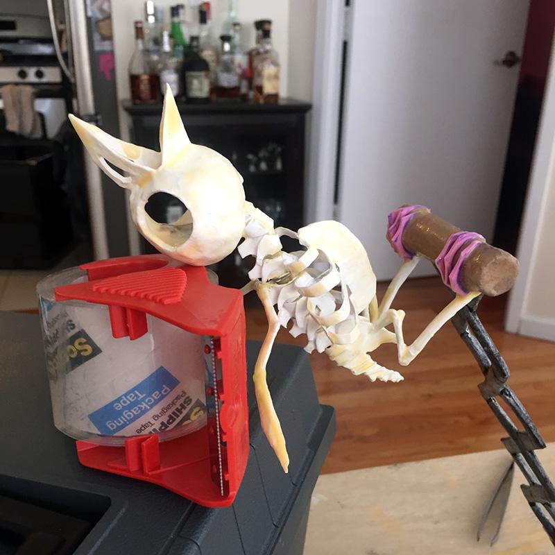 Gluing the bird skull onto the skeleton