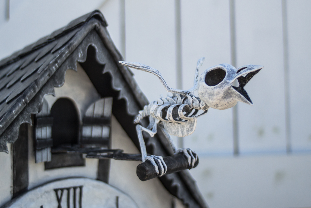 Cuckoo clock skull mask -- bird skeleton