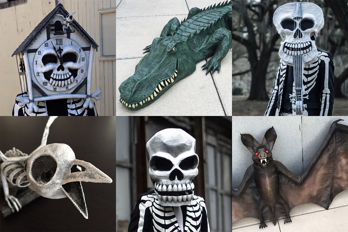 Manning Krull custom paper maché sculptures and masks
