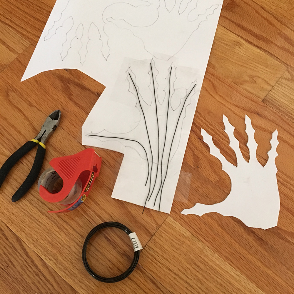 Paper mache ghost hands - adding steel wires