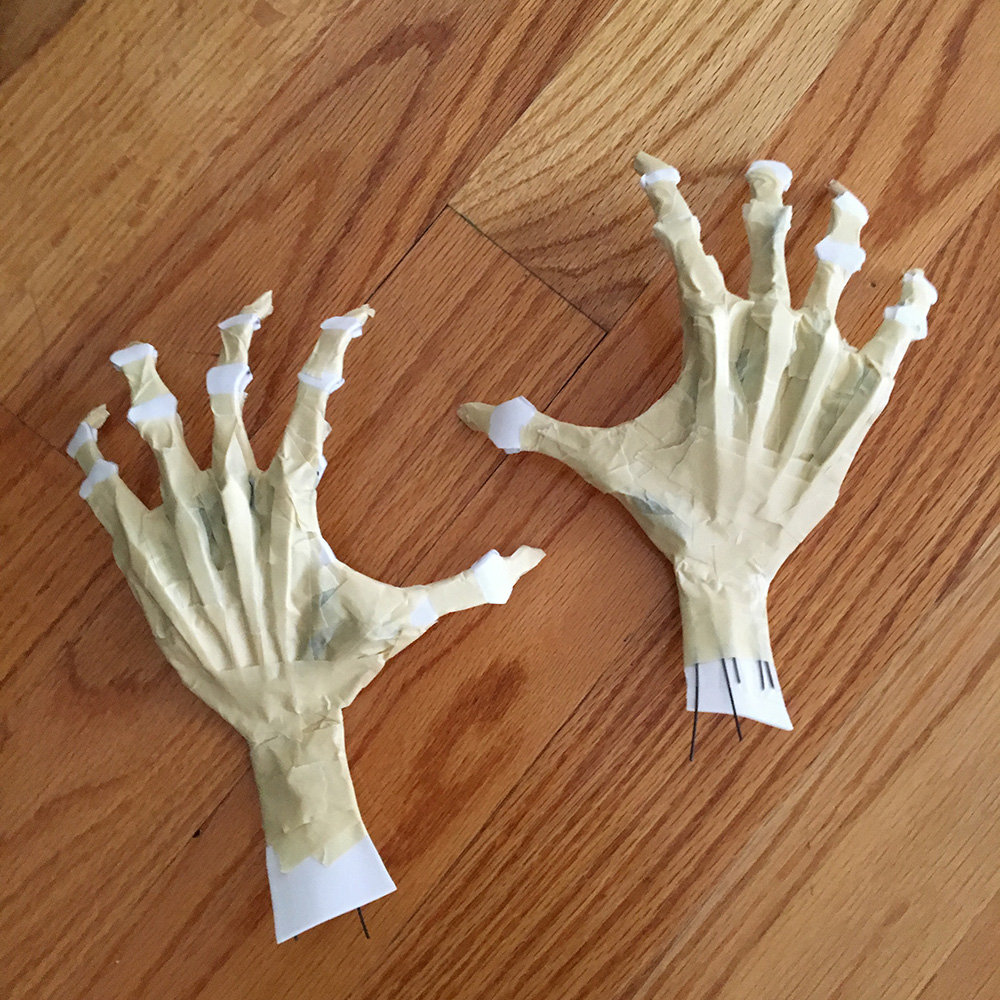 Paper mache ghost hands - adding tendons and bones