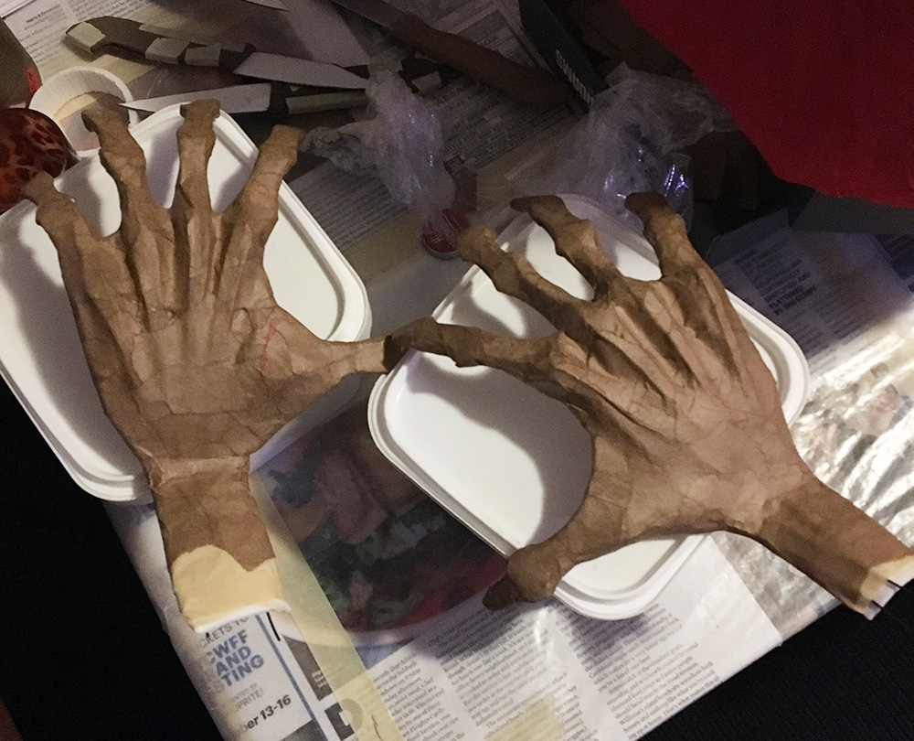 Spooky ghost hands - covering with paper mache