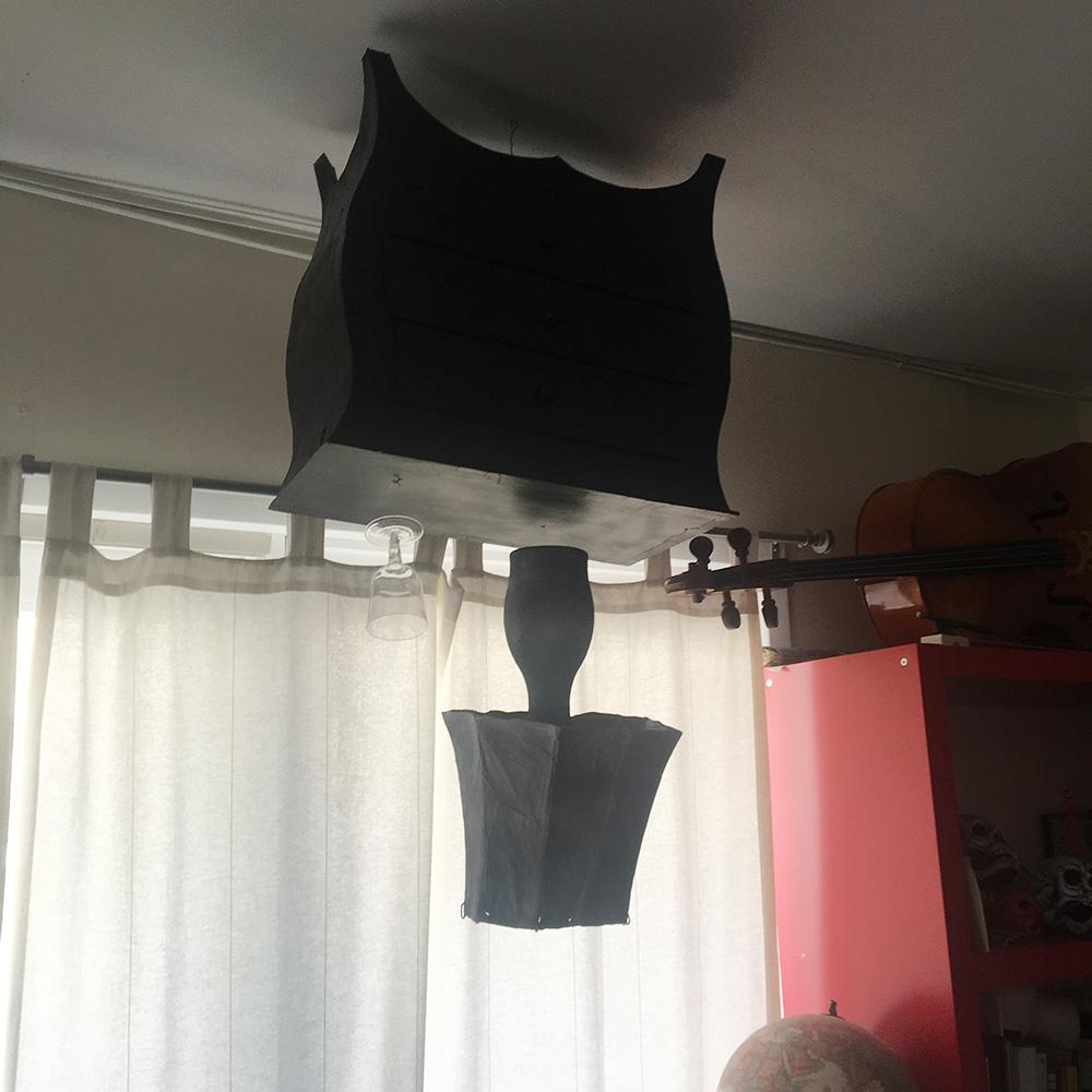 Paper mache Victorian nightstand