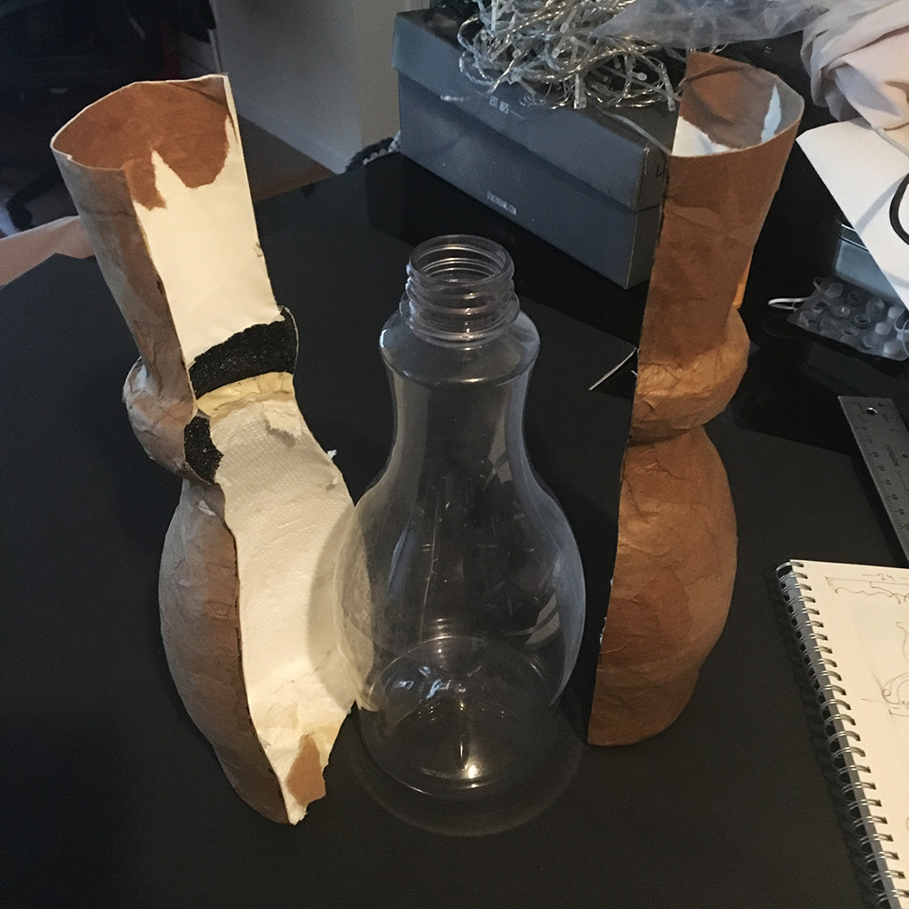 Paper mache table - removing the bottle