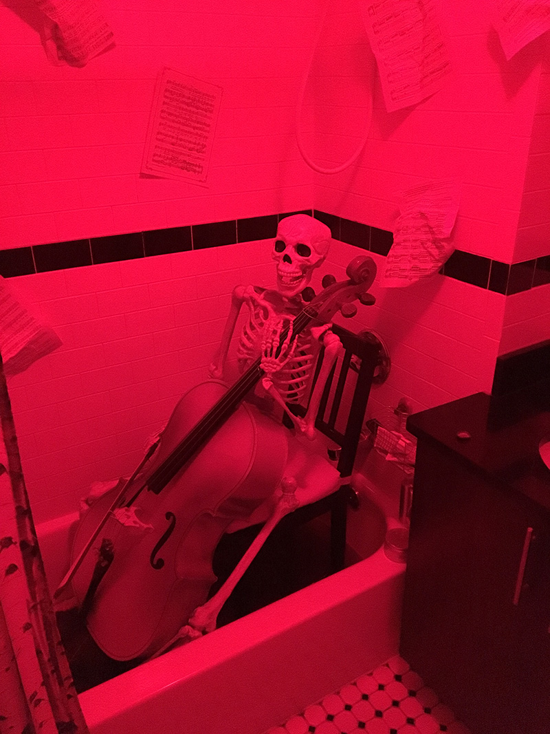 Skeleton playing the cello in a bathtub full of blood -- Halloween decoration
