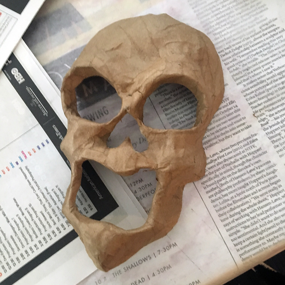 Ghost costume - cutting out the paper mache face