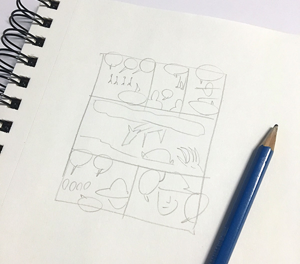 Drawing a comics storyboard
