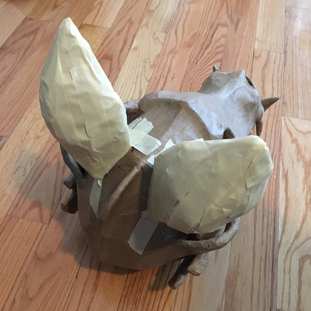 Wolf skull mask - covering the ears with masking tape