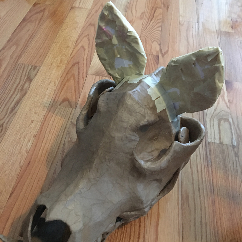 Wolf skull mask - front view of the ears with tape