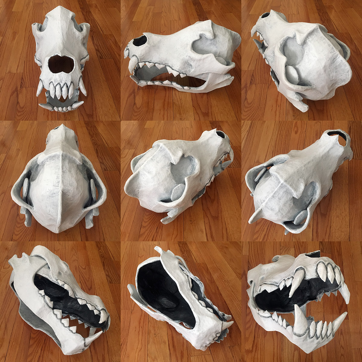 Paper mache wolf skull mask - different angles