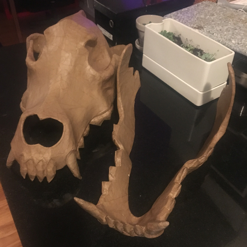 Wolf skull mask - skull and jaw separate