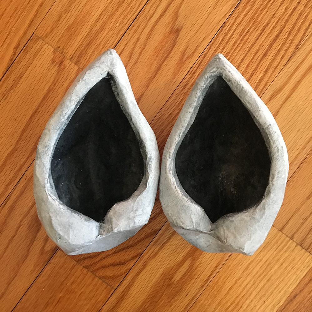 The finished ears for my Wolf skull mask