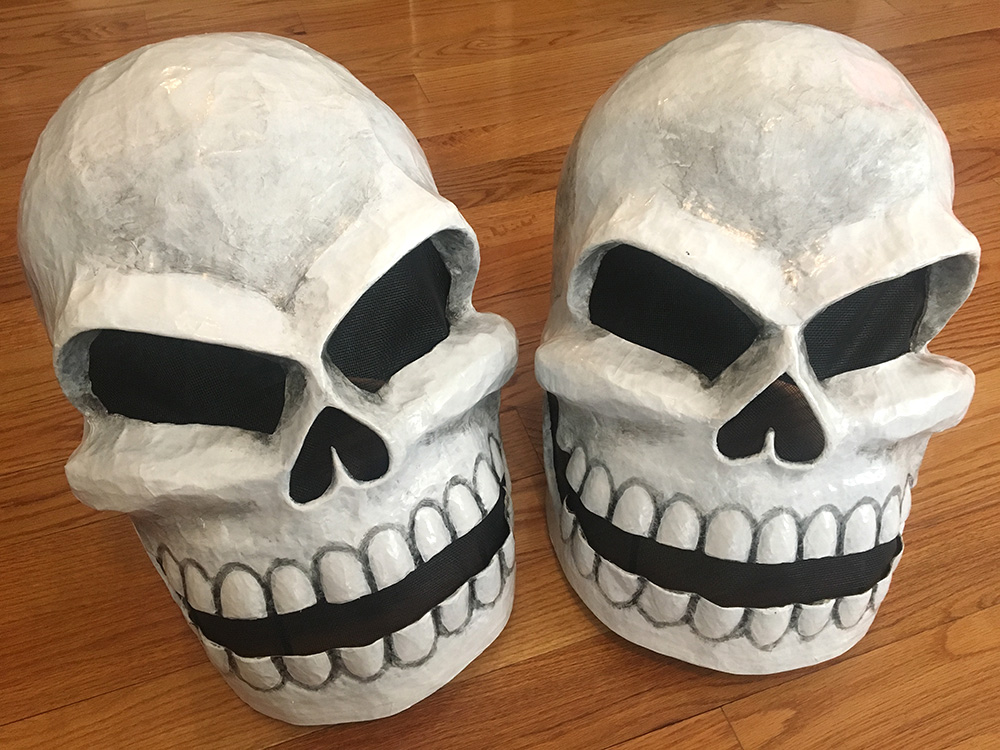 Twin paper mache skull masks - finished!