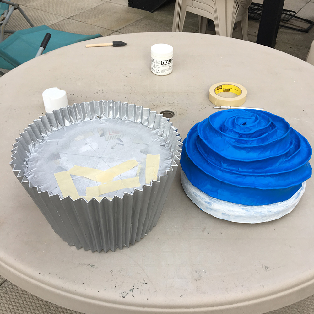Paper mache cupcake - spray painting