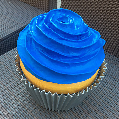 Paper mache cupcake prop by Manning Krull
