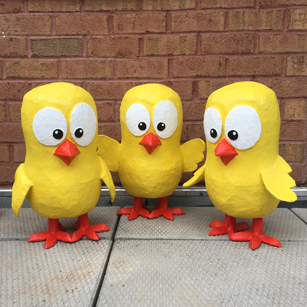 Papier mache baby chicks - all done!