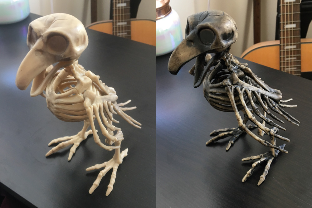 Repainting a plastic bird skeleton - before and after