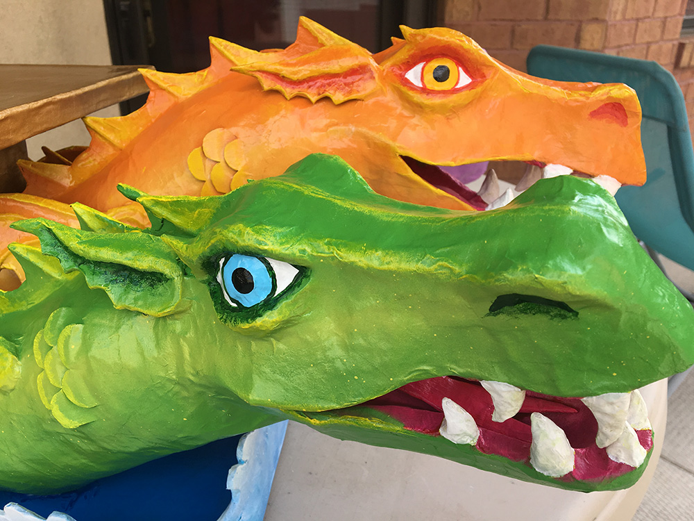 Paper mache dragon sculpture