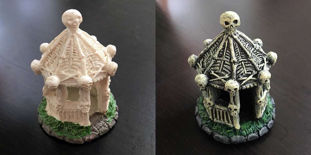 Repainting a Halloween village gazebo - before and after