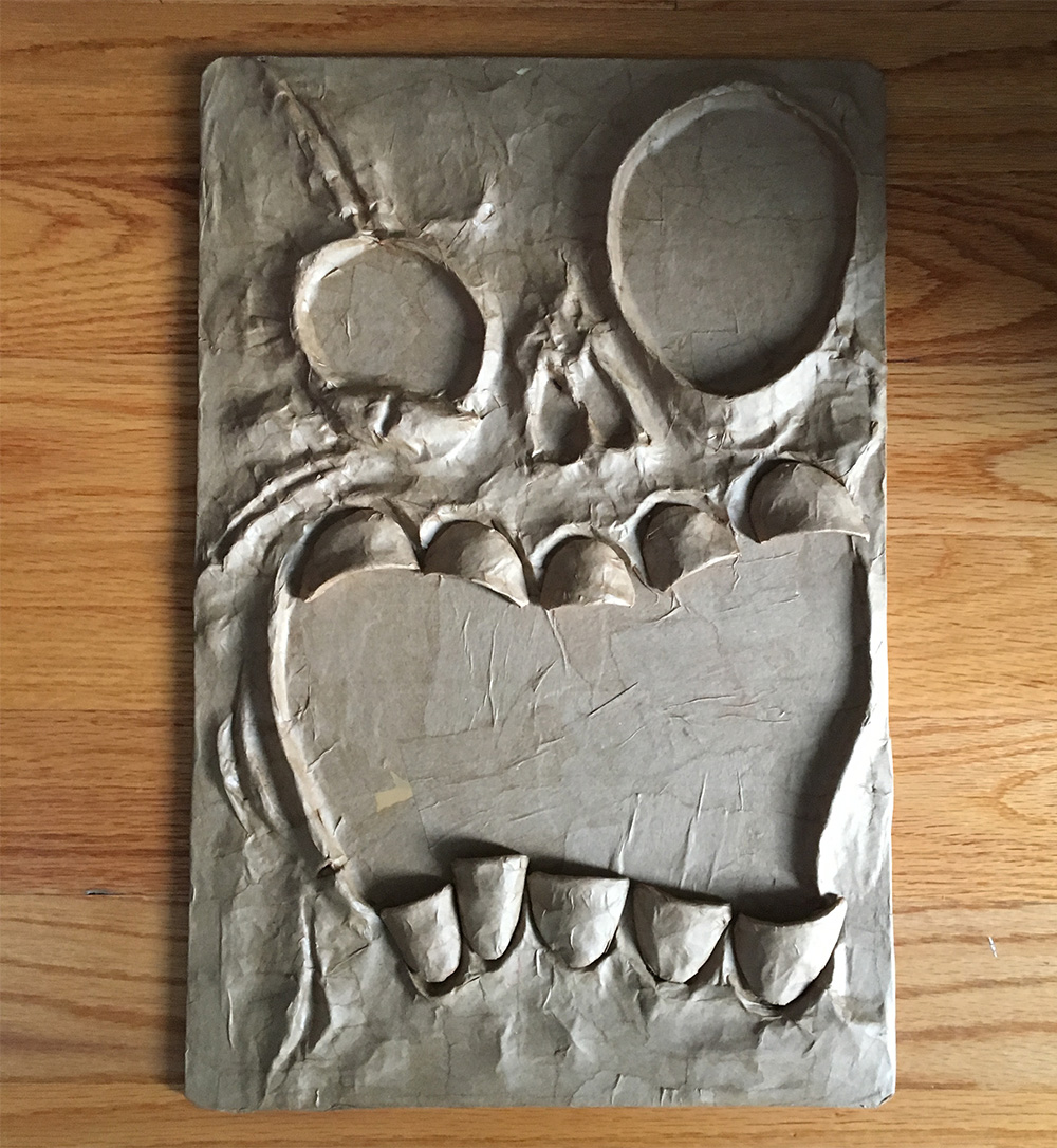 Paper Mache Book Cover : Necronomicon style haunted book made from paper maché