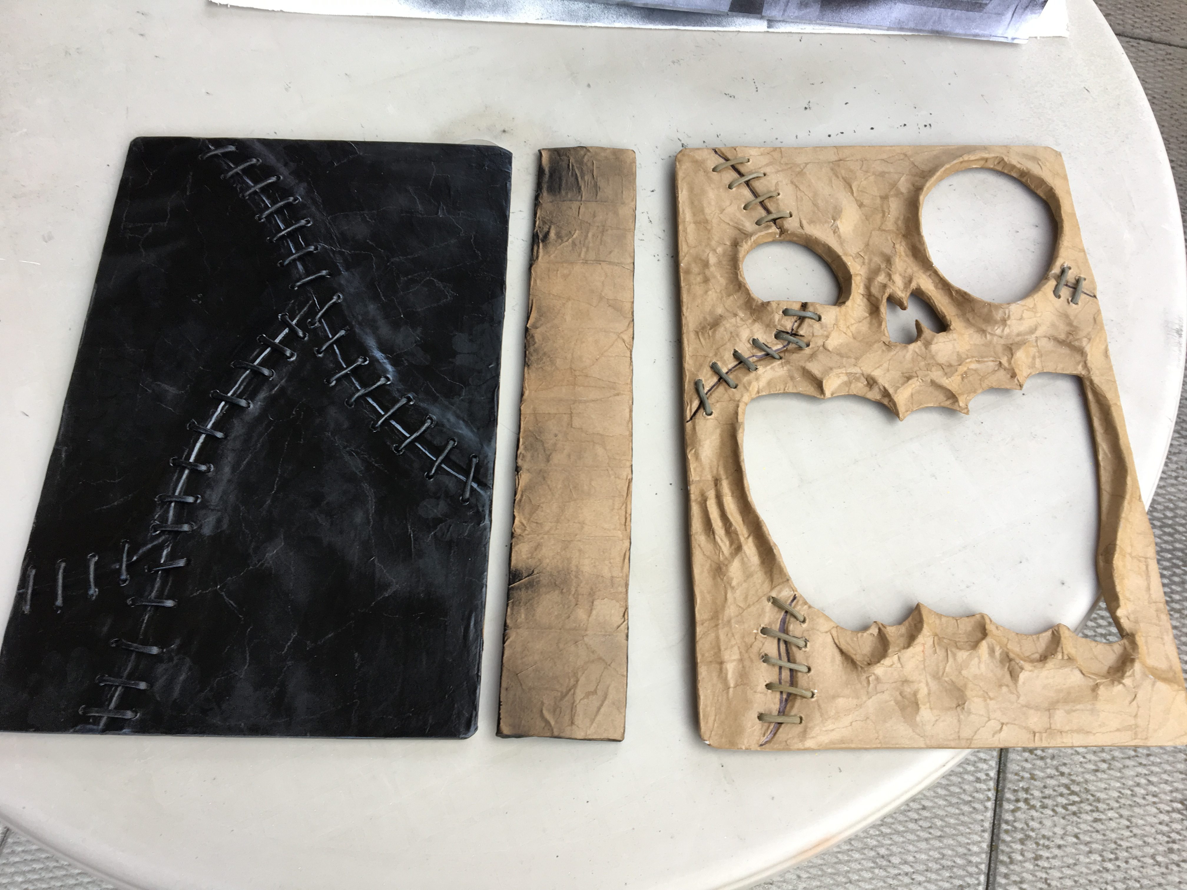 Haunted book sculpture - building the spine