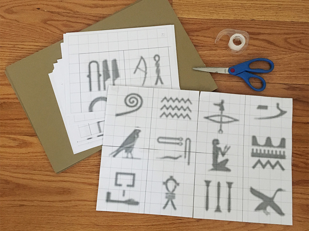 Egyptian hieroglyphs wall decoration - making the stencil