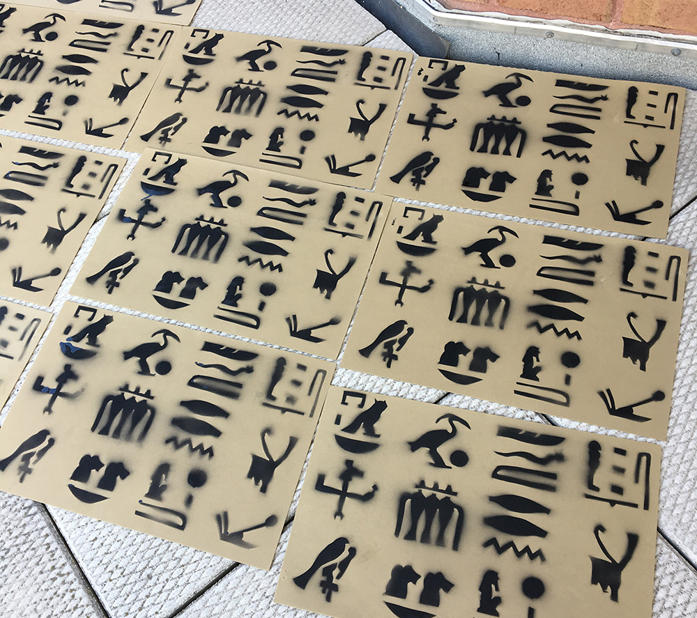 Egyptian hieroglyphs - finished foam decorations