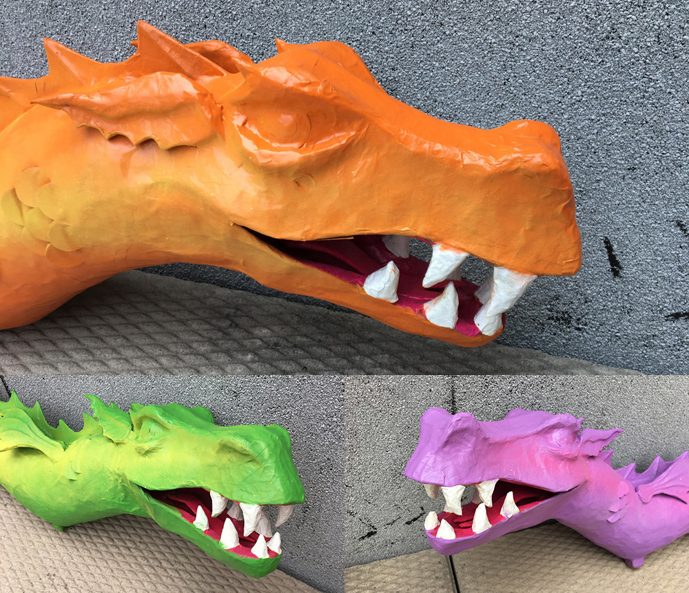Paper mache three-headed dragon - head closeups