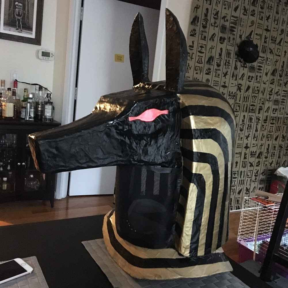 Paper maché Anubis mask - painting done, lights in the eyes
