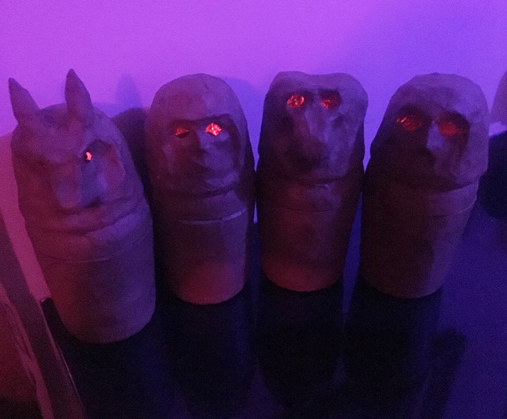 Paper maché ancient Egyptian canopic jars