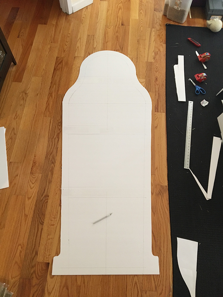 Making an Egyptian sarcophagus - cutting out the back panel
