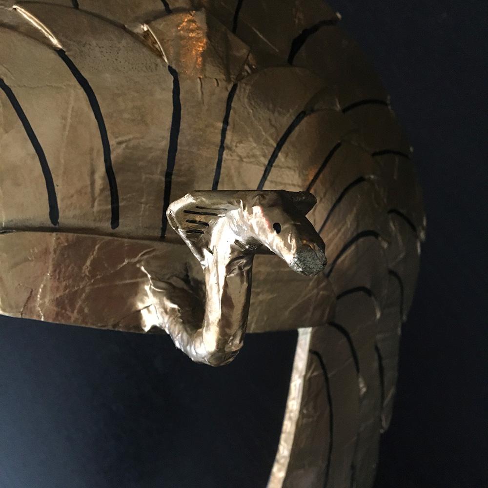 Paper mache Cleopatra headdress - cobra closeup