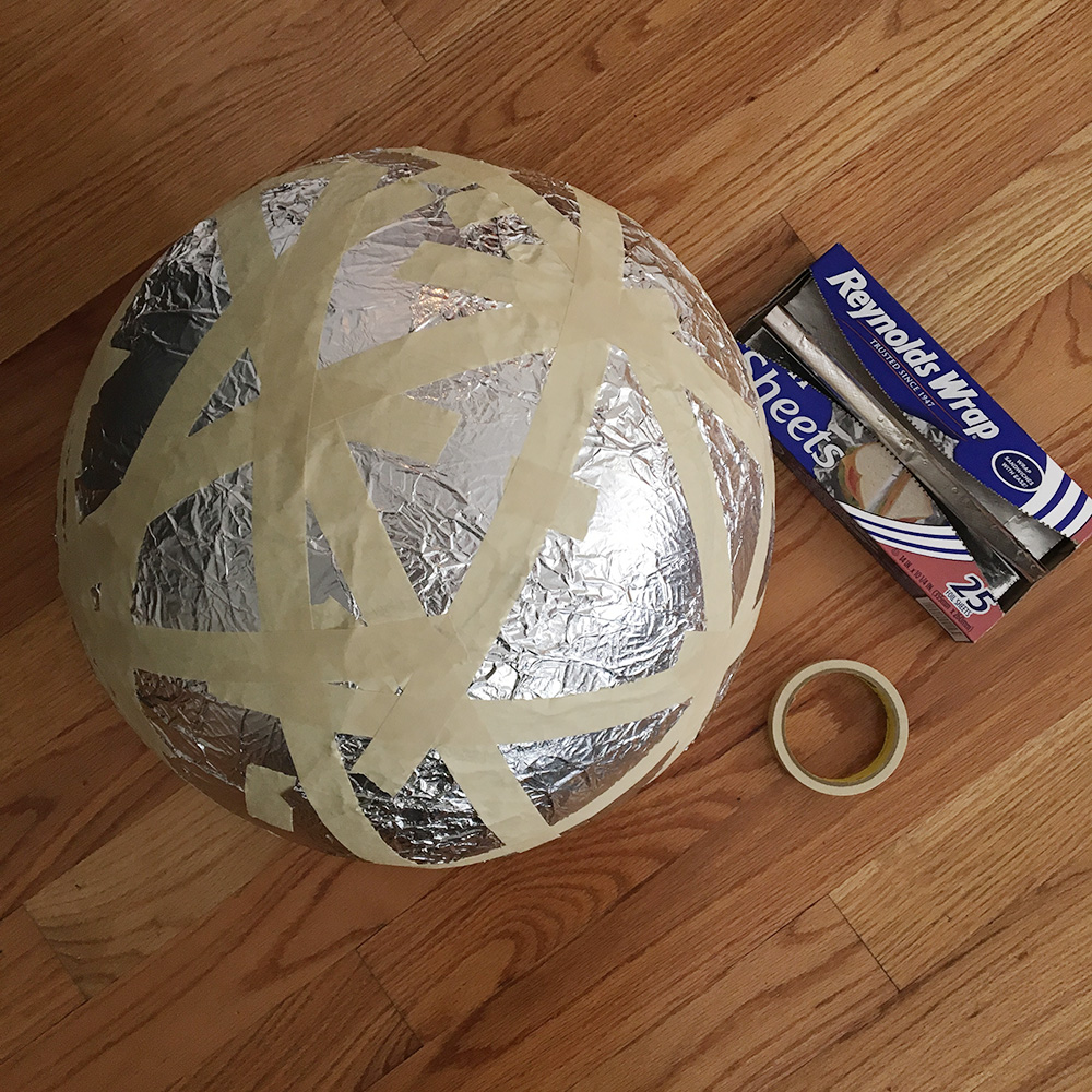 Paper mache globe - aluminum foil and masking tape