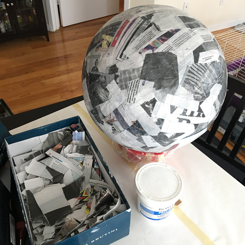 Paper mache globe - work in progress