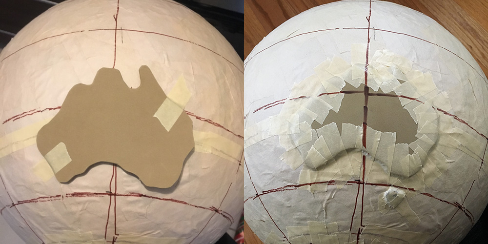 Paper mache globe - attaching the continents
