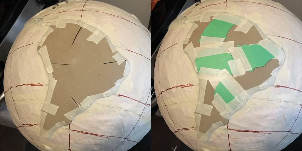 Cutting wedges to help the continents mold to the sphere