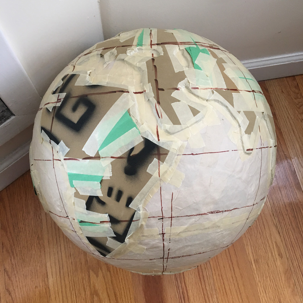 Paper mache globe - all continents attached
