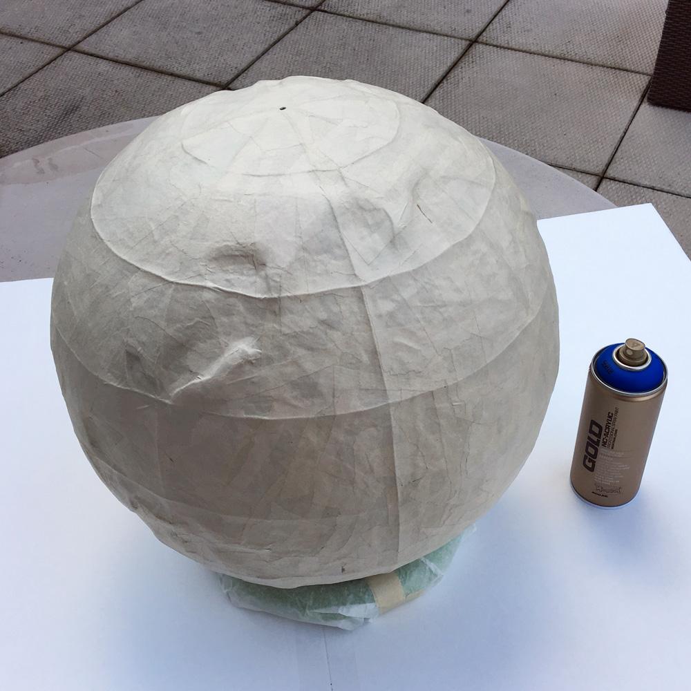 Paper mache globe - paper mache done!
