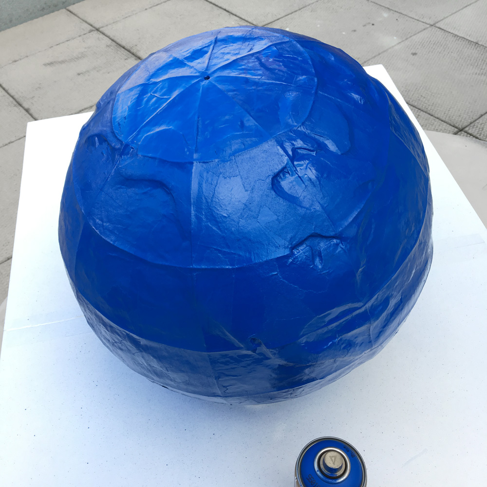 Paper mache globe - blue spray paint