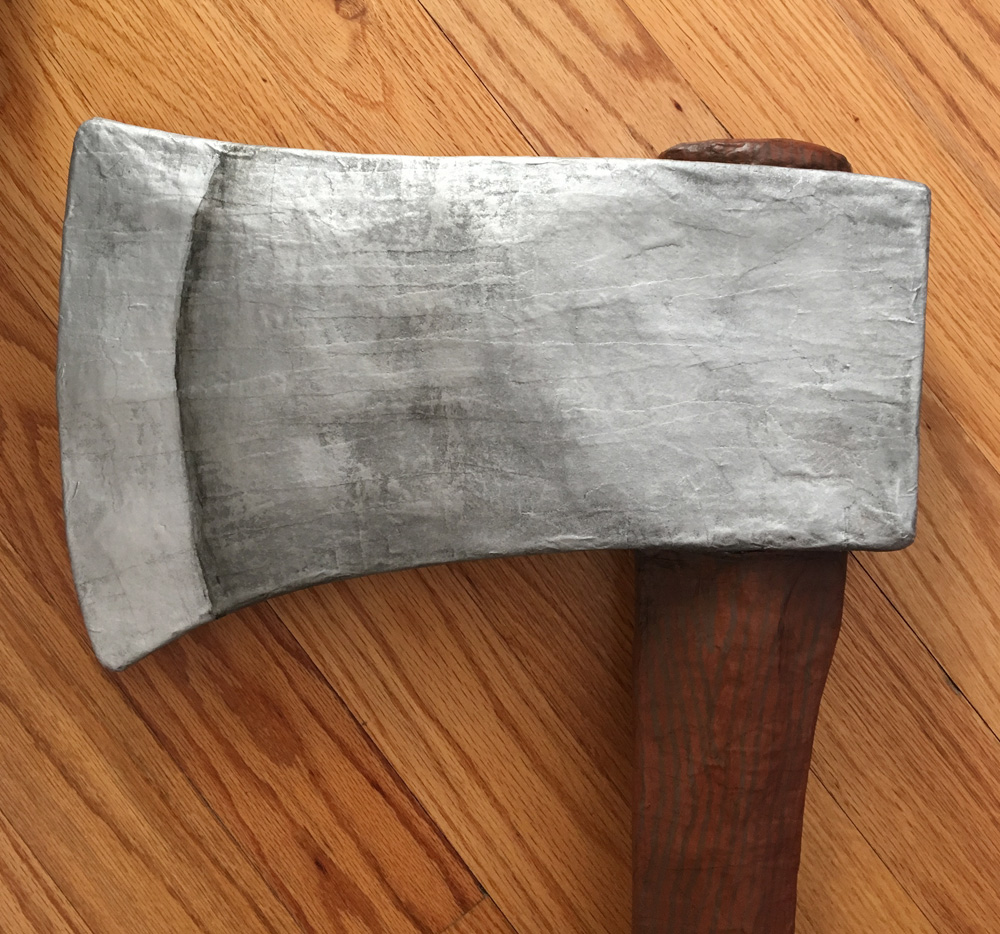 Paper mache axe - paint job on the blade