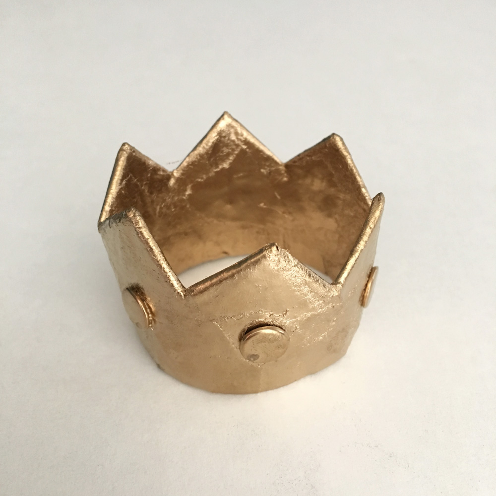Tiny paper mache crown - spray painted gold