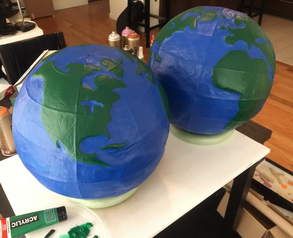 Paper mache globe - painting the continents